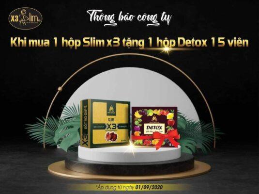 Detox Slim X3 chính hãng tặng 15 viên