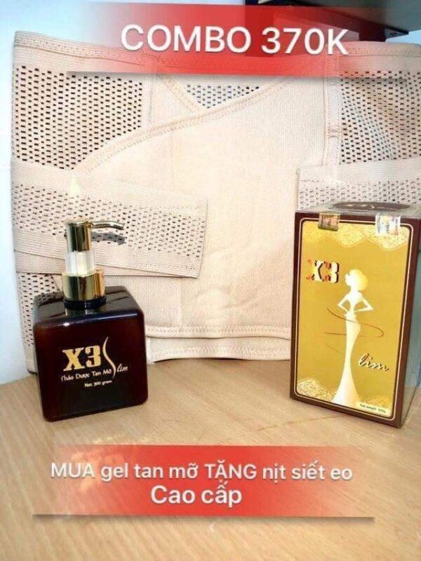 Gel tan mỡ X3 Slim - Tặng Đai nịt bụng cao cấp 02 lớp