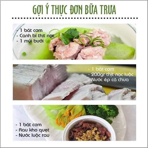 Gợi ý thực đơn bữa trưa - Thực đơn giảm cân