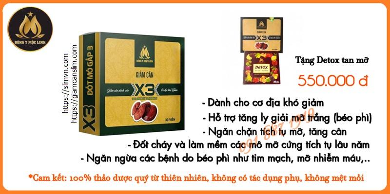 Giảm cân Slim X3 - Detox tan mỡ - Cam kết Giảm cân Đông Y Mộc Linh