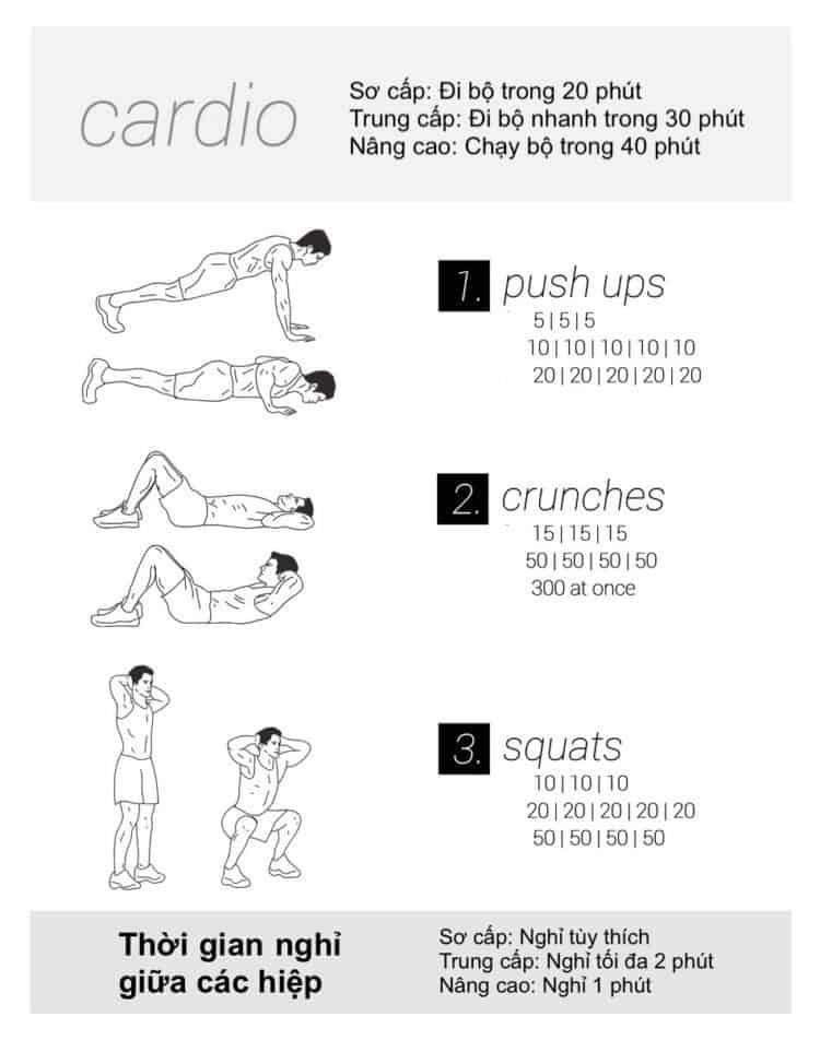 30 bài tập cardio giảm cân giảm mỡ hiệu quả đơn giản tại nhà - Ngày 1