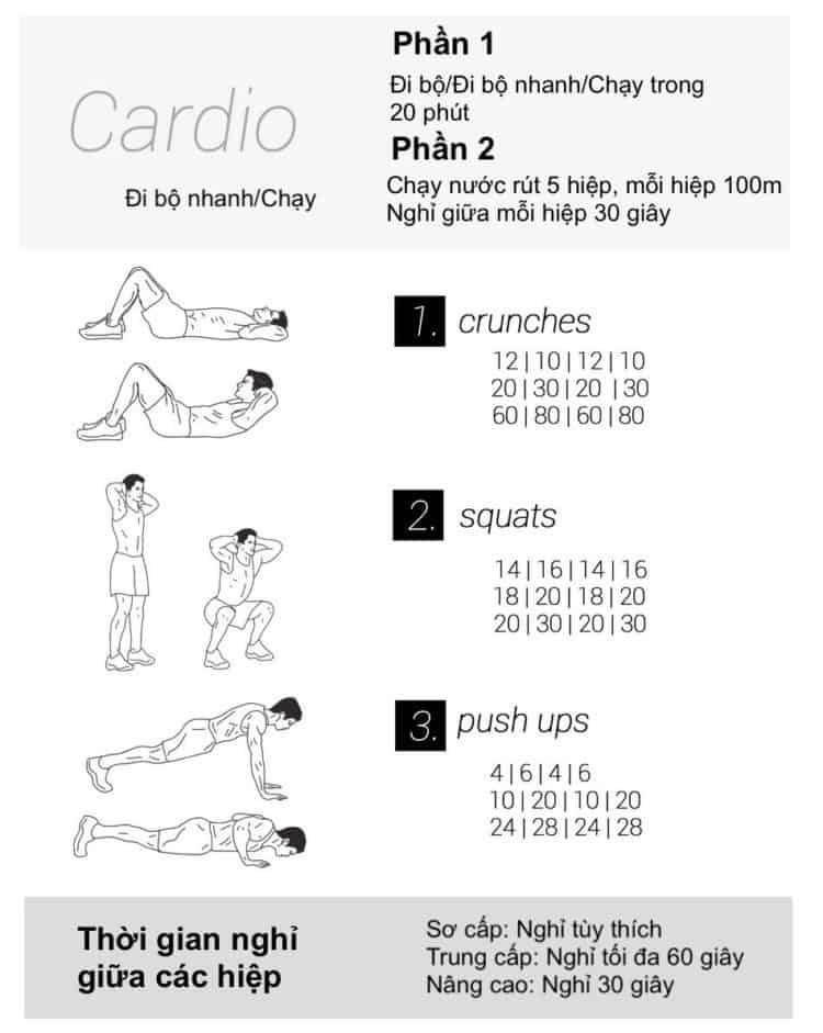 30 bài tập cardio giảm cân giảm mỡ hiệu quả đơn giản tại nhà - Ngày 10