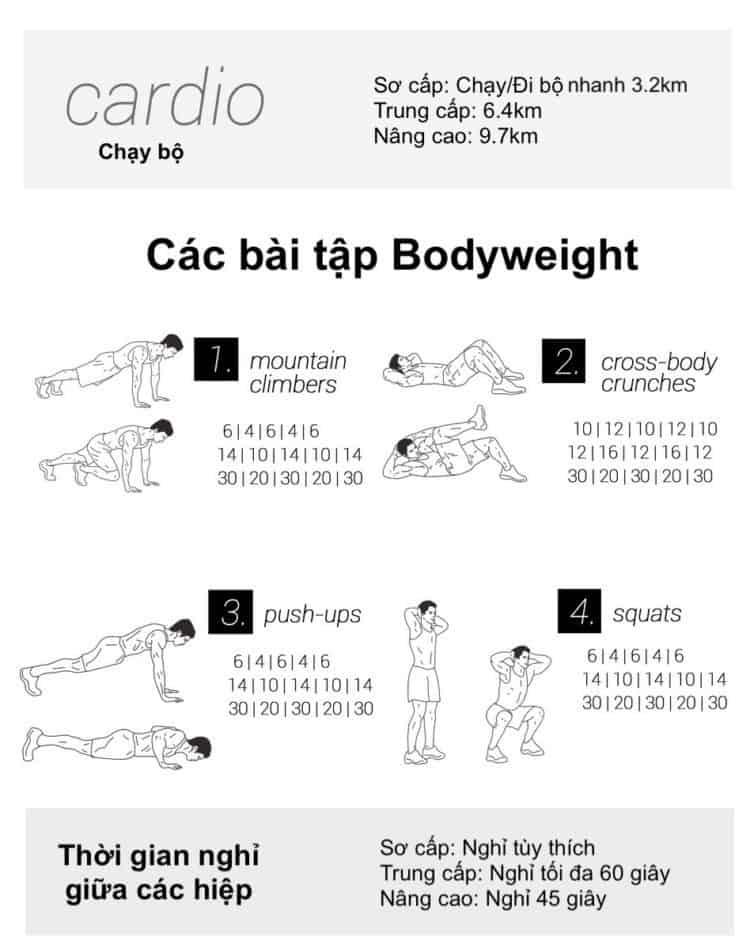 30 bài tập cardio giảm cân giảm mỡ hiệu quả đơn giản tại nhà - Ngày 15