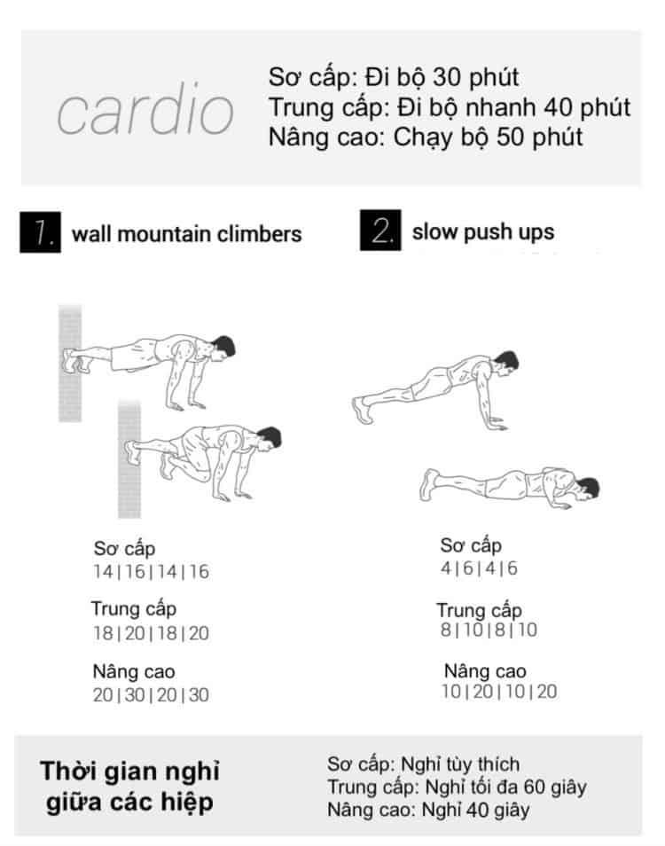 30 bài tập cardio giảm cân giảm mỡ hiệu quả đơn giản tại nhà - Ngày 18