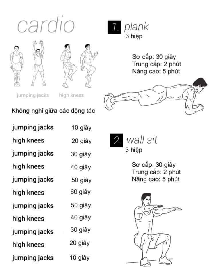 30 bài tập cardio giảm cân giảm mỡ hiệu quả đơn giản tại nhà - Ngày 2