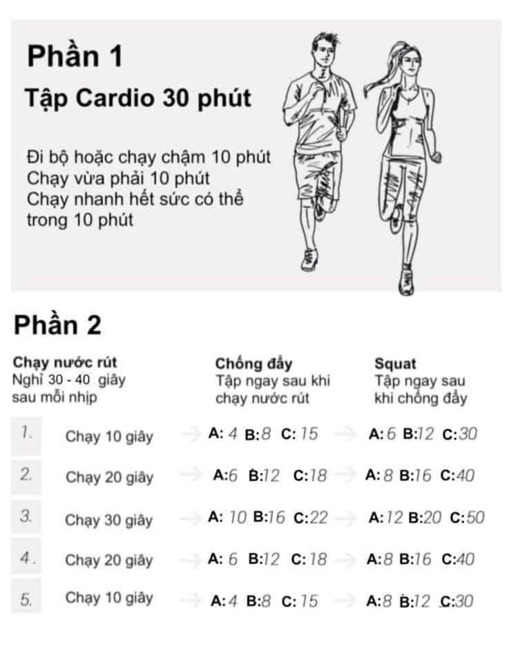 30 bài tập cardio giảm cân giảm mỡ hiệu quả đơn giản tại nhà - Ngày 20