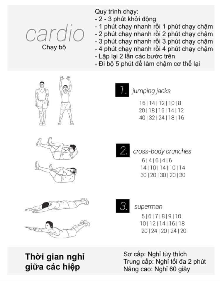 30 bài tập cardio giảm cân giảm mỡ hiệu quả đơn giản tại nhà - Ngày 4
