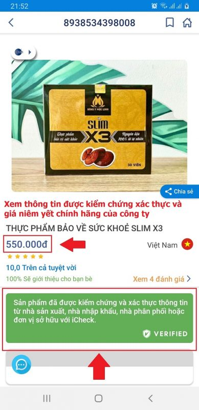 Icheck Giam can Slim X3 chinh hang - Buoc 4