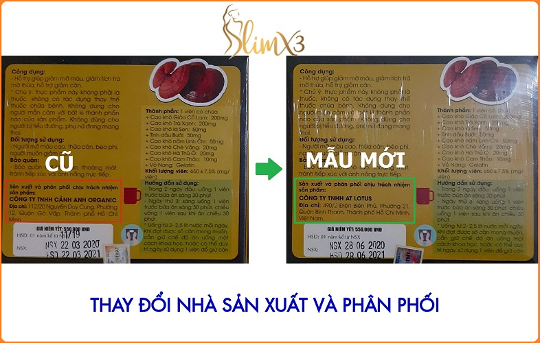 Slim X3 - Thay đổi công ty sản xuất và chịu trách nhiệm phân phối sản phẩm