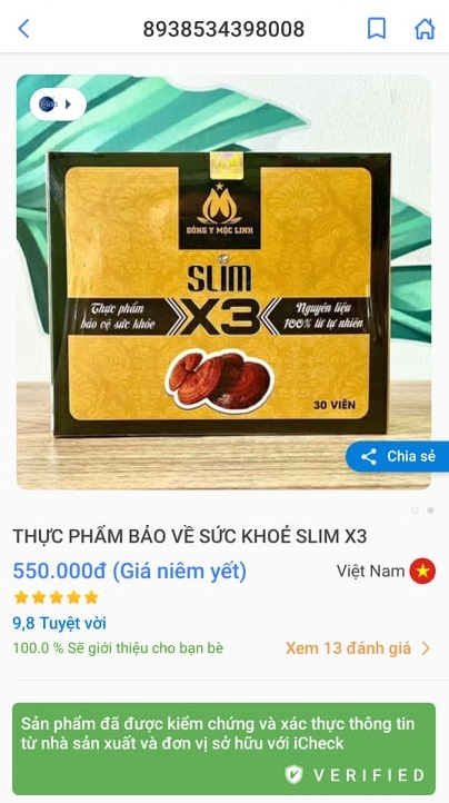 Phát hiện hàng giả Giảm cân Slim X3 bằng phần mềm Barcode Việt chính xác