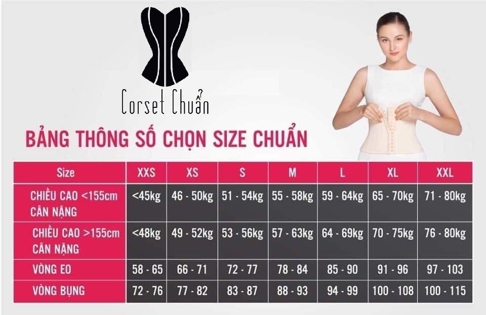 Latex Corset chuẩn - Bảng chọn size chuẩn phù hợp với chiều cao cân nặng